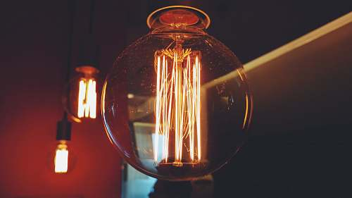 filament lighted filament of bulbs bulb