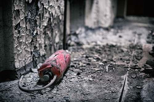 spremberg broken red fire extinguisher germany