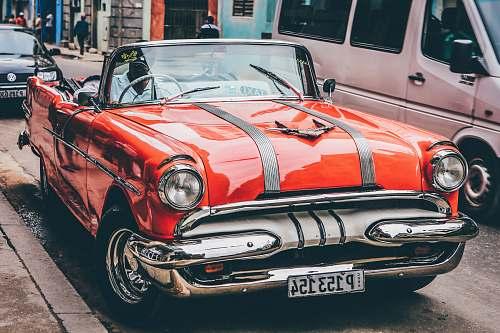 light classic orange convertible coupe car