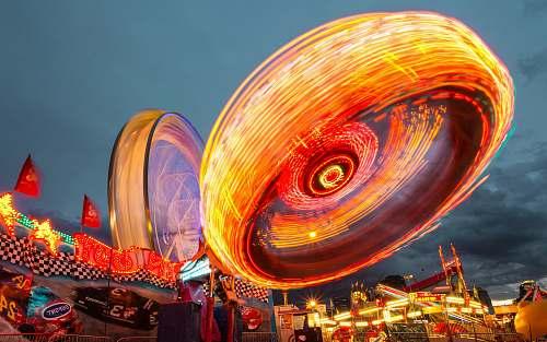 parade multicolored amusement park ride person