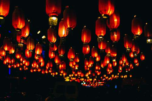 lamp orange paper lanterns during night time beijing