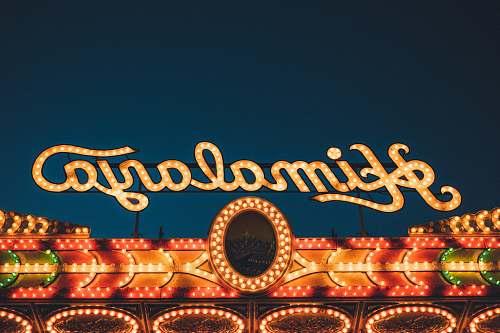 sign orange Himalaya LED signage night