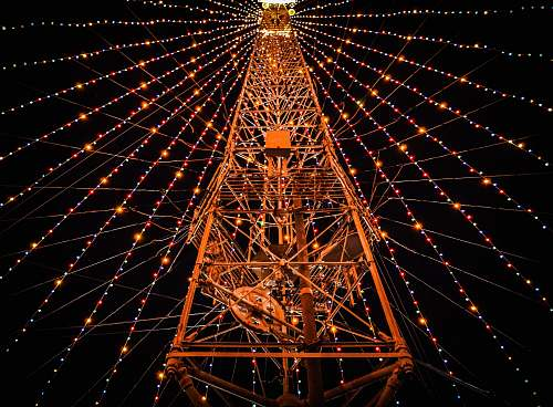 structure photo of tower with string lights geometry