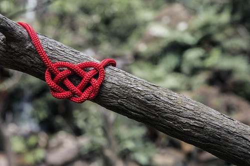 heart red rope on three branch wedding