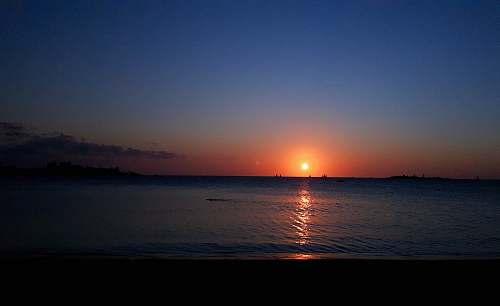 outdoors golden hour view at ocean sunlight