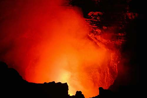 eruption photograph of fire sunrise