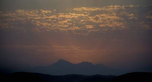 outdoors silhouette of a mountain at twilight dusk