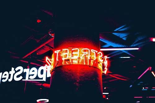 pillar lighted Street neon sign glow
