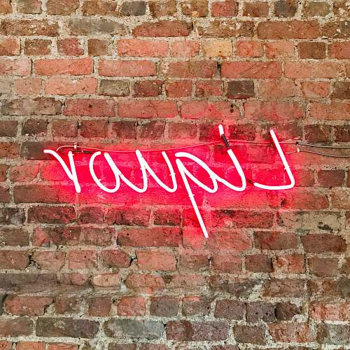 brick red liquor neon decor sign