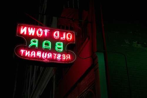 light turned on Old Town Bar restaurant neon light signage sign