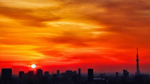 nature silhouette of city with high-rise buildings under orange skies sunset