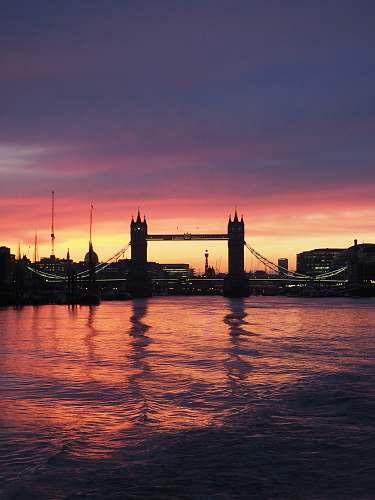 sunset Tower Bridge, London sky