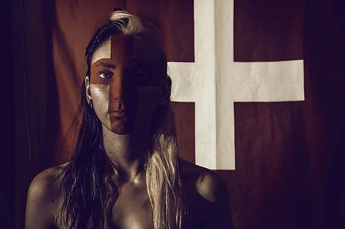 human woman with cross flag person