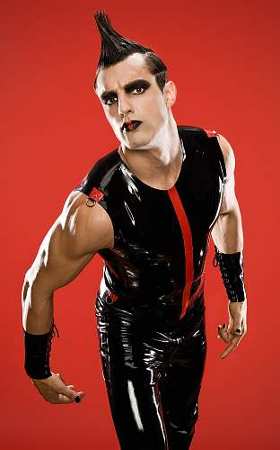 people man wearing black latex sleeveless shirt and pants human