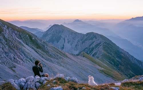 human person sitting on mountain near white dog during daytime mountain