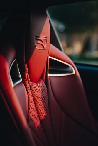 human red leather car seat people