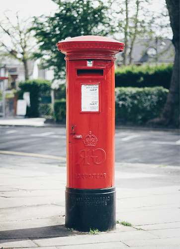 mailbox red and black GR post office letter container london