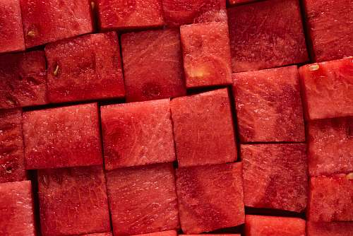 brick diced watermelon food