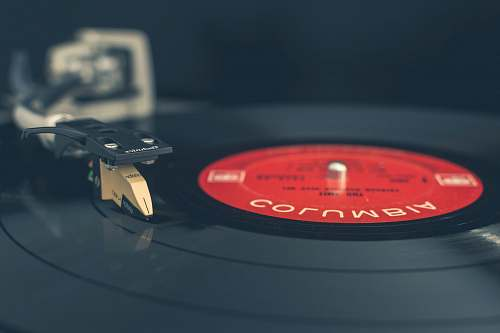 vinyl photo of black turntable record