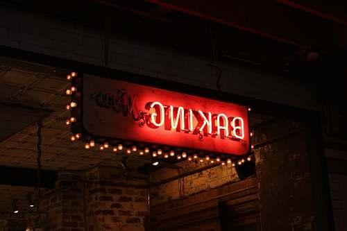 light red and white Baking LED signage sign