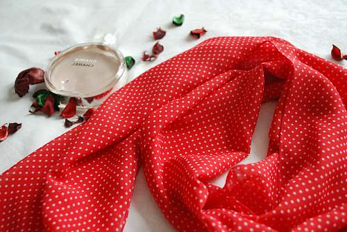 clothing red and white scarf apparel