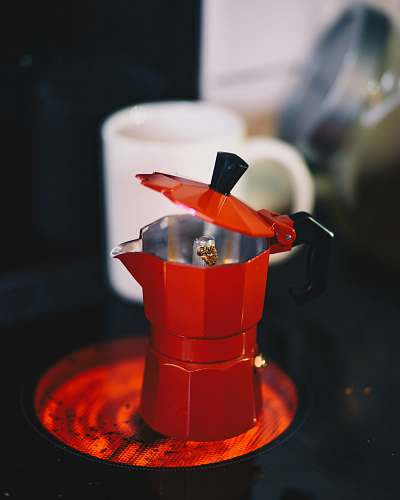 toy red coffee pot drink