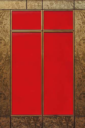 furniture red door with bamboo wallpaper geometry