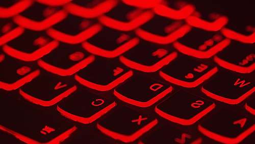 neon red lighted keyboard light