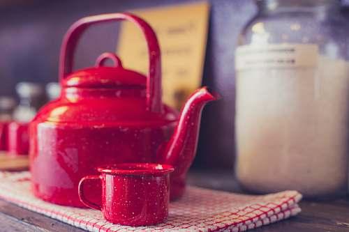 tea red steel kettle cup