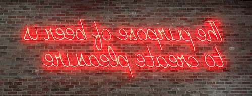 neon red the purpose of beer is to create pleasure sign light