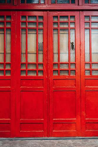 taiwan red wooden wall on concrete ground window