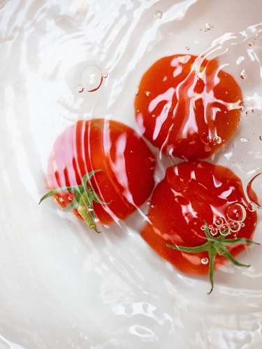 food three red tomatoes in water ketchup
