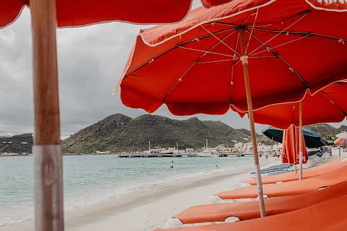 umbrella view of beach with sunloungers and parasols canopy
