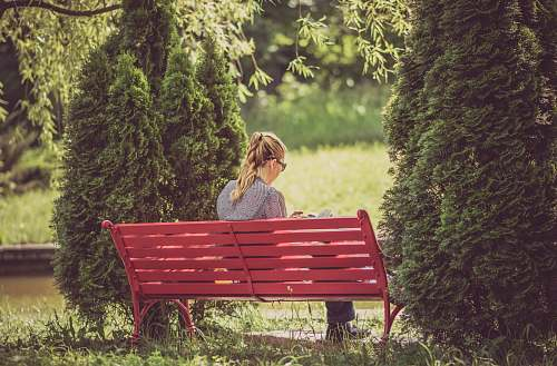 people woman sitting on red wooden bench bench