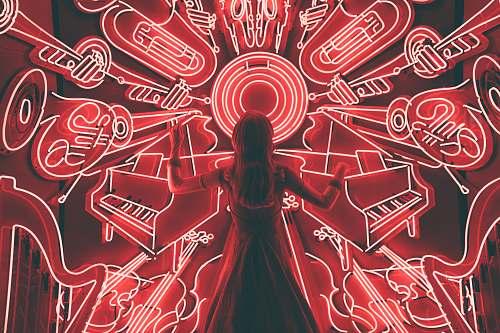 neon woman standing watching LED light musical instrument music