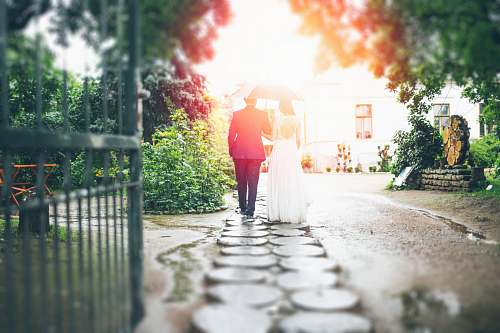 wedding bride and groom walking on pathway path