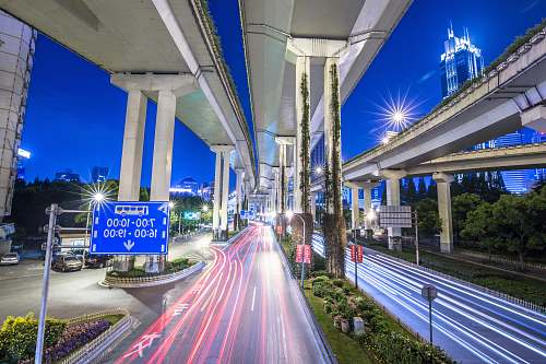 street time-lapse photography of road during nighttime freeway