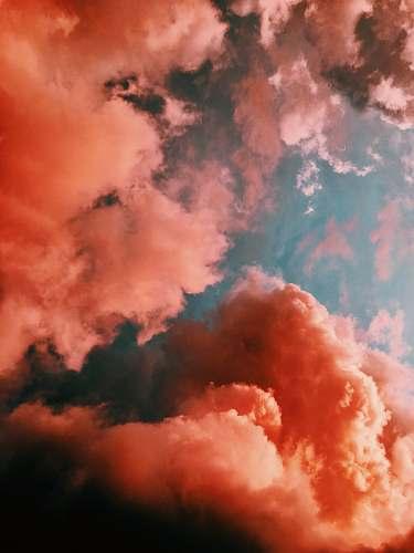 cloud orange smoke on blue background nature