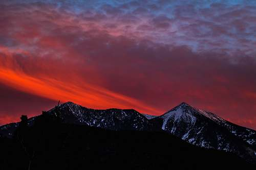 flagstaff silhouette of mountain at golden our sunset