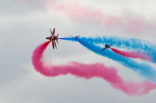 aircraft three planes doing aerobatics airplane