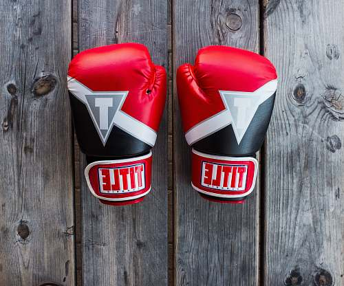 logo pair of red-and-black Title training gloves on grey wooden plank trademark