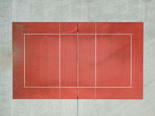 minimal white and red volleyball court aerial photo volleyball