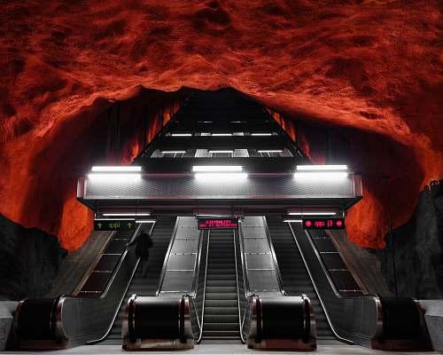 sweden escalator in cave subway