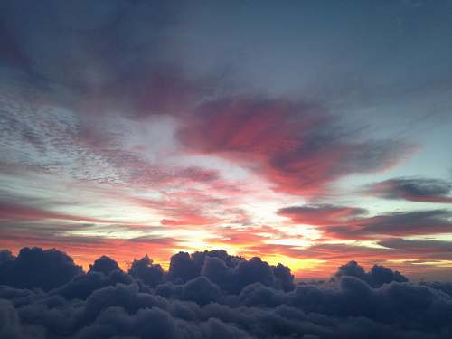 sunset aerial photography of clouds sky