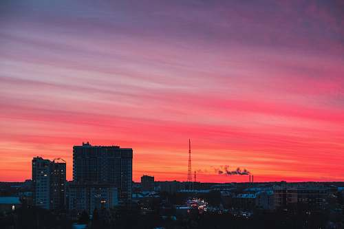 nature aerial photography of cityscape at sunset dusk