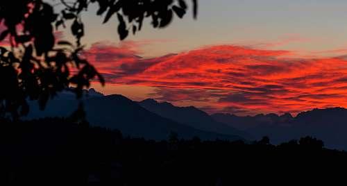 sky silhouette of mountain and cloud sunrise