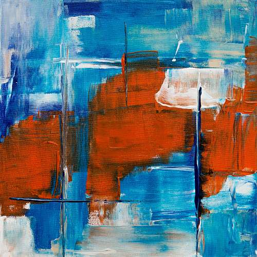 photo red red and blue abstract painting modern art free for commercial use images