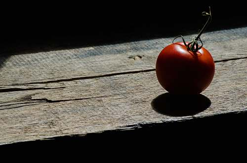 flora red tomato on brown wooden table food