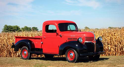 truck red and black single cab pickup truck beside a corn field pickup truck