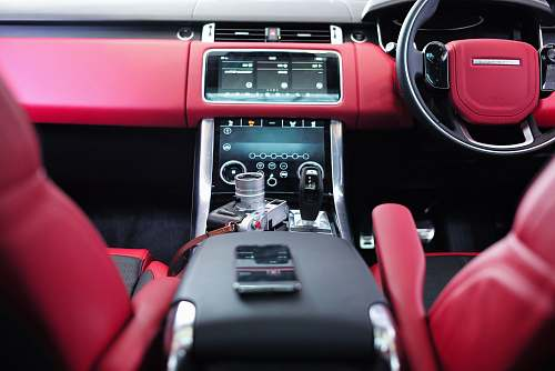 car red and black vehicle interior vehicle